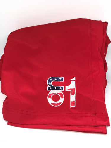 Red W/ American Flag Logo-4 Way Stretch Shorts
