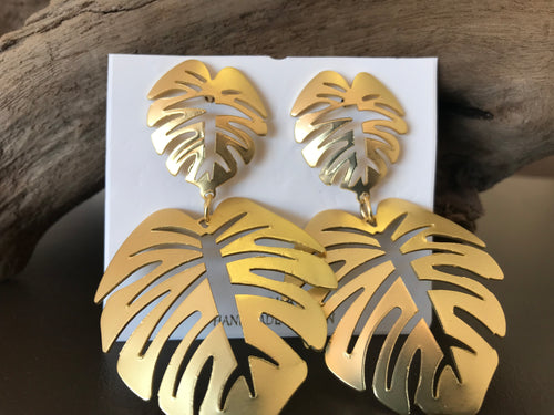 Gold metal Palm leaf earrings