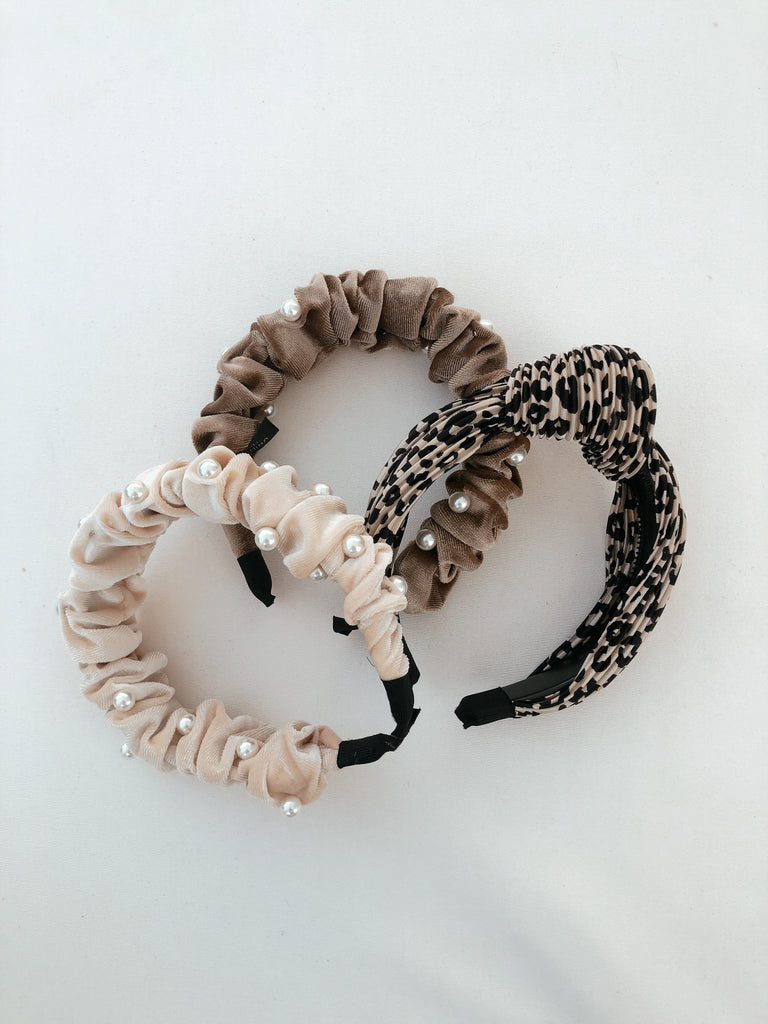 headbands, hair accessories, velvet headband, leopard headband