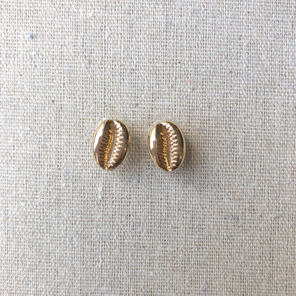 Gold Cowrie Shell Studs
