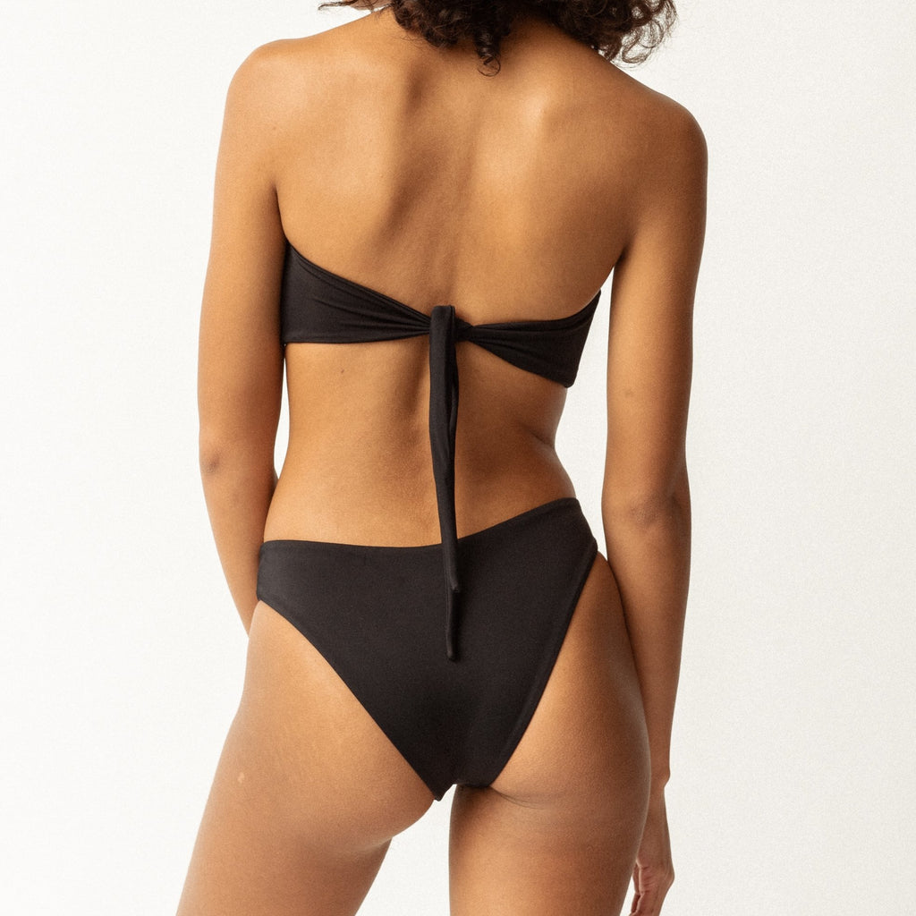 black convertible bandeau two piece bikini
