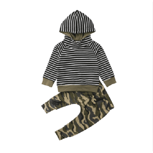 Boy's Striped Hooded Pullover with Camouflage Pants Set