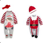 2-piece Christmas Cheerful striped romper for baby girl and boy