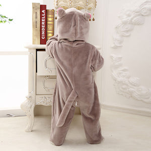 Adorable Animal-Shaped Design Flannel Baby Rompers