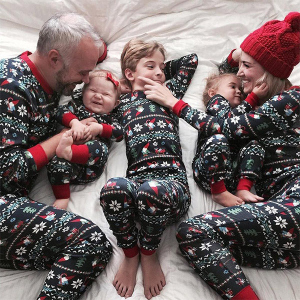 Cheerful Festival Patterned Long Sleeve Family Matching Set