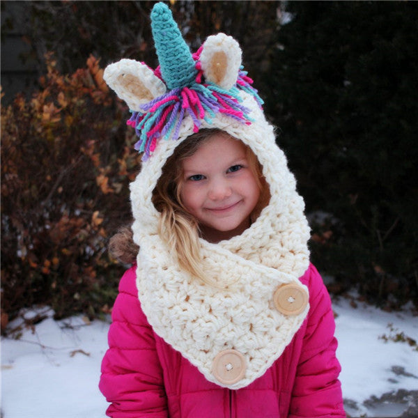 Adjustable Autumn Winter Unicorn Hat With Shawl