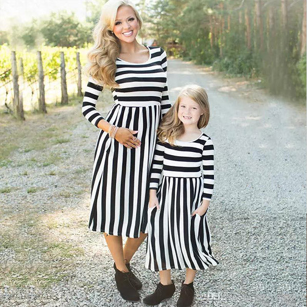 Fashion Striped Family Look Matching Dress