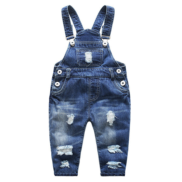 Trendy Ripped Design Denim Overall Jean Suspenders in Blue for Baby