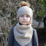 Cute Autumn Winter Hat and Bib Set For Girls