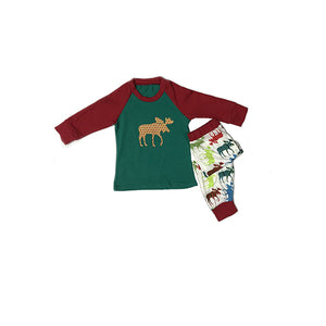 Colorful Deer Print Christmas Pajamas Family Matching Set