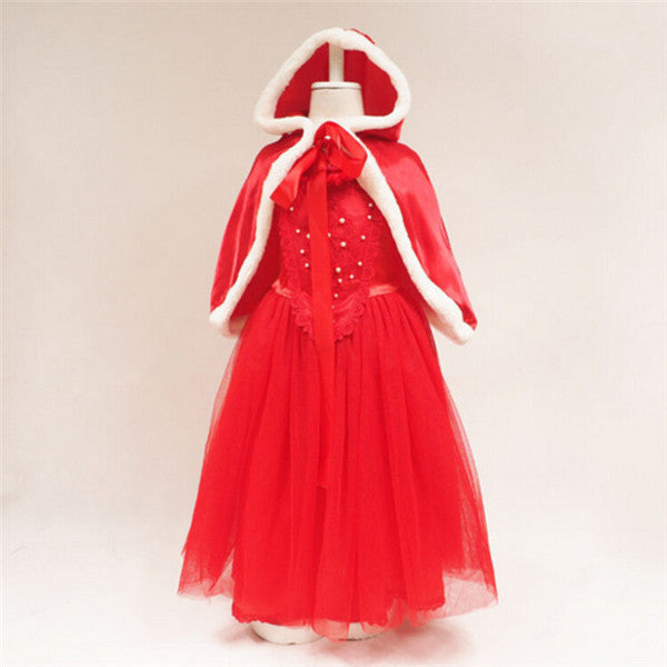 Girl Ice Romance And Cape Hat Two-Piece Set Christmas Dress
