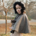 Fur Collar Cloak Woolen Cape for Kids Christmas New Year