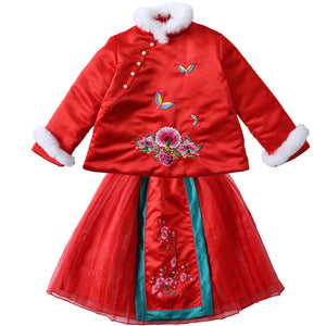 Chinese style Autumn And Winter Embroidery Cheongsam Dress For Kids