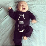 Black Bottle MILK Letter Romper