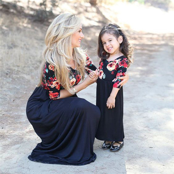 2018 New Hot Mom Girl Flower Prints 3/4 Long Sleeve Matching Dress