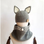 Kids Autumn Warm Cat Hats Knitted Hood Scarf Set