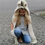 Knitted Unicorn Hats with Scarf Set Winter Windproof