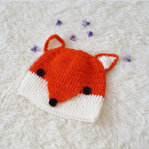 Autumn Winter Kids Warm Orange Knitted Fox Hat