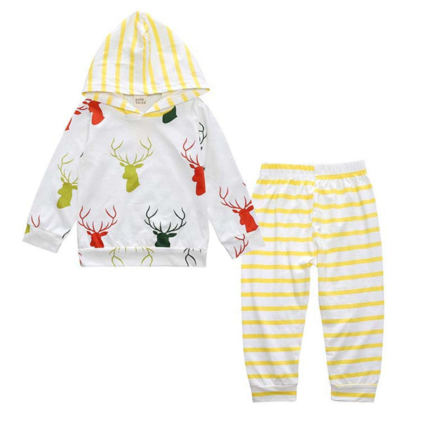 2-piece Cute Reindeer Print Hooded Long-sleeve Pullover and Pants for Baby