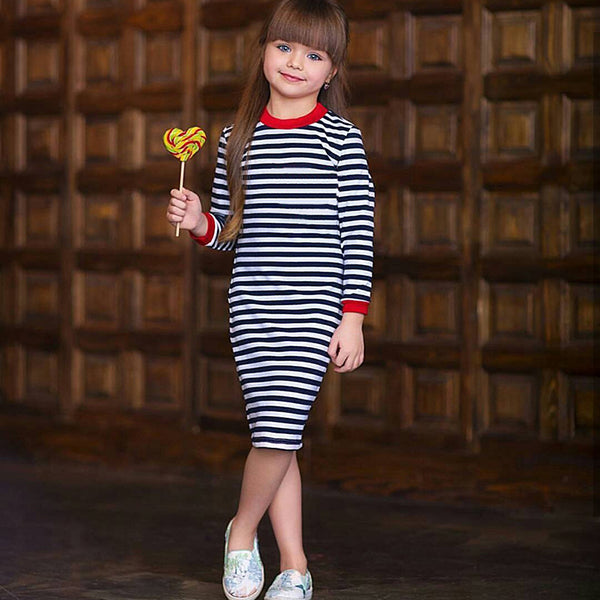 Long Sleeves  Stripe Dress for Girls