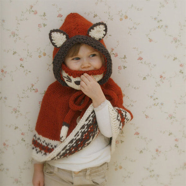 Cute Fox Design Knit Hat & shawl for Kids
