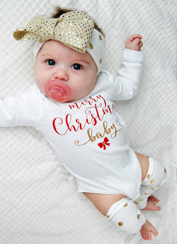 Christmas Newborn Baby Girls Clothes Romper +Leg Warmer
