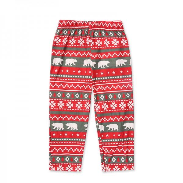 2-piece Christmas Bear Print Family Matching Pajamas Set