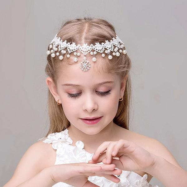 Chic Pearl Decor Lace Headband for Girls
