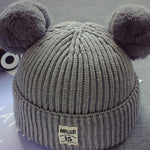 Cute Knitted Solid Pompom Decor Hat for Baby