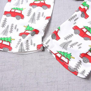 Cheerful Christmas Trees Printed Family Matching Pajamas Set