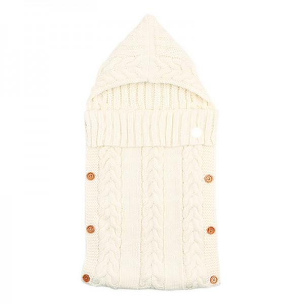 Comfy Solid Hooded Knit Sleeping Bag Blanket for Newborn