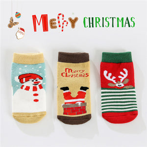3-pair Cute Christmas Stripe Animal Print Terry Socks