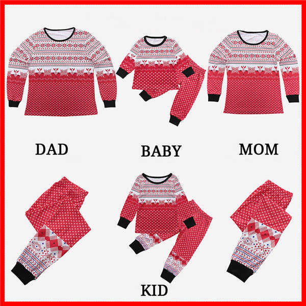 Cheerful Snow Print Christmas Family Matching Pajamas Set