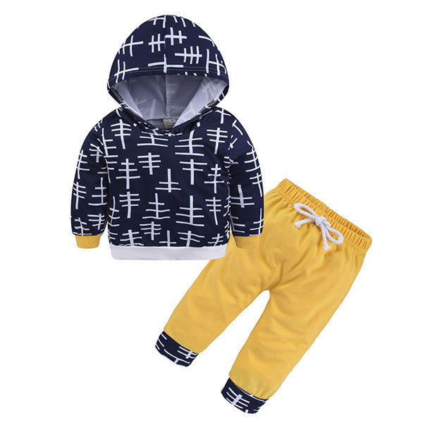 2-piece Hooded Long-sleeve Pullover and Pants for Baby