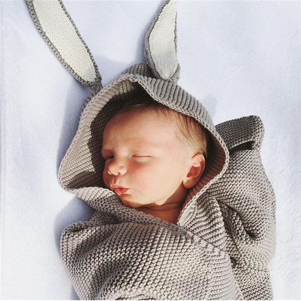 Adorable Bunny Design Knitted Newborn Baby Sleeping Bag