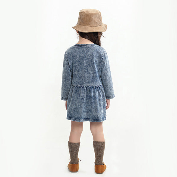 Embroidered Word Girls' Knitted Denim Skirts For Kids