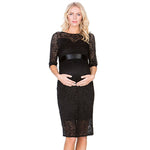 Maternity Lace Hollow Out Half Sleeve Dress With Adjustable Belt