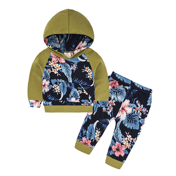 2-piece Flower Print Hooded Long-sleeve Pullover and Pants for Baby