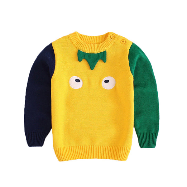 Cartoon Big Eyes Embroidery Baby Toddler Boy Cotton Sweater Color-blocking Knitted Jumper Long Sleeve for Winter