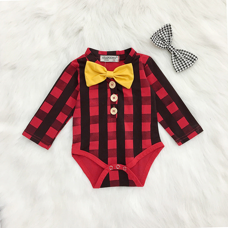 Baby long sleeve plaid romper