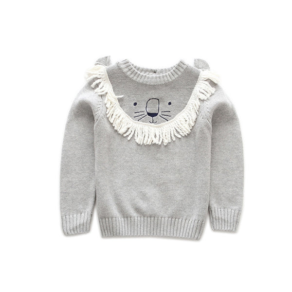 Cute Lion Pattern with Tassel Cotton Sweater Baby Toddler Boys Girls Knitted Jumper Long Sleeve