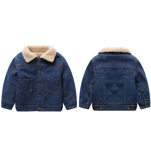Lamb Fur Coat Denim Jacket For Kids