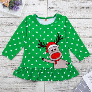 Happy Deer Christmas Dress for Baby and Toddler Girls