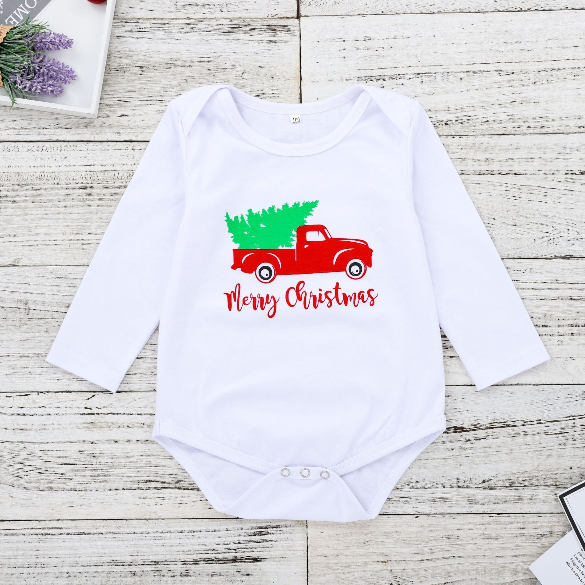 Litter car print Christmas Romper for Baby