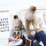 Comfy Pompon Design Knitted Family Matching Hat