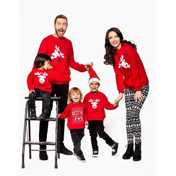 Xmas Family Sweatshirts With Red Color