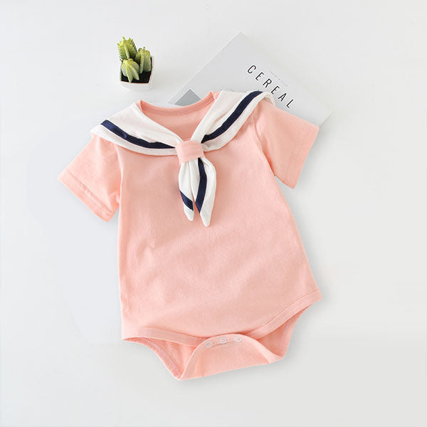 Baby Cotton Short-Sleeved Navy Wind Triangle Romper