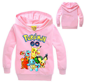 Pokemon Print Cartoon Design Long Sleeves Hooded Pullover for Kids