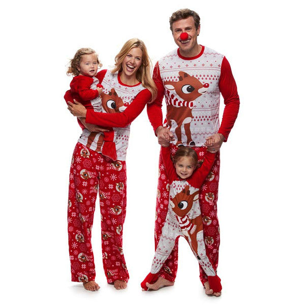 Cute Deer Print Christmas Family Matching Pajamas Set