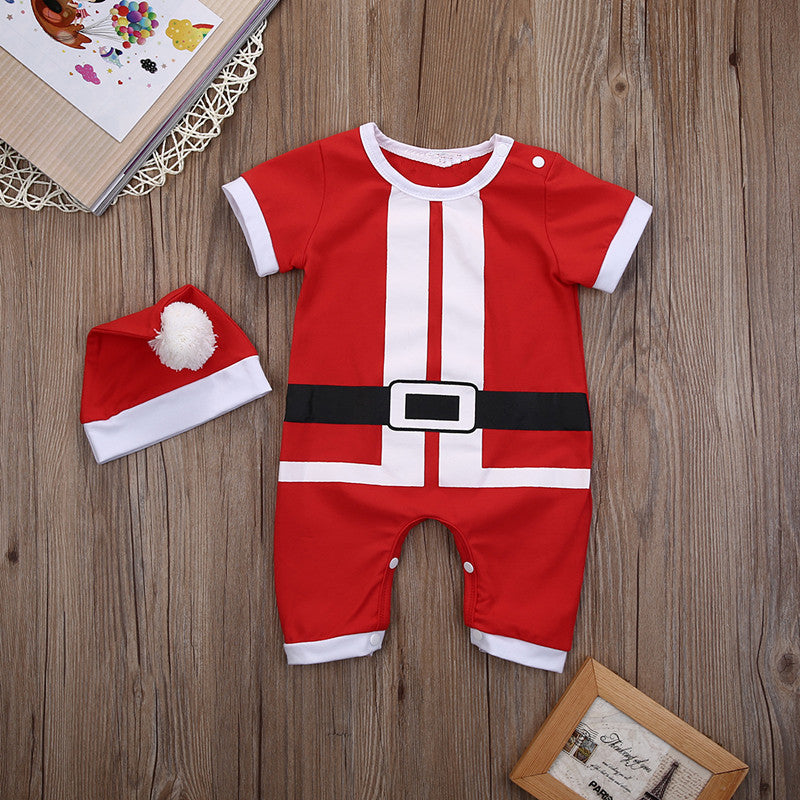 Christmas Baby Boy Girl Cotton Romper+Hats 2pcs